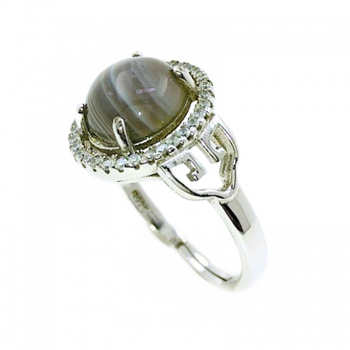 Botswana Agate Oriental Arrow 925 Silver Ring