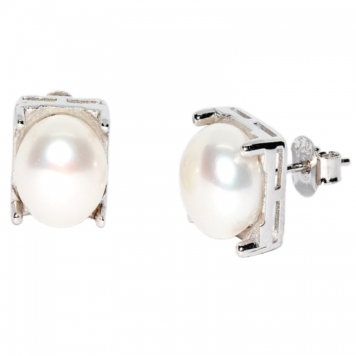 Fresh Water Pearl Square 4 Point 925 Silver Earring