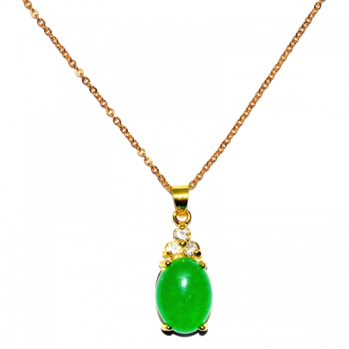 Green Quartz Pendant With Chain - Oval 3 Cubic
