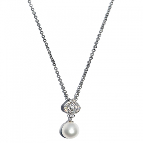 Fresh Water Pearl Heart Cubic Zirconia Pendant With Chain