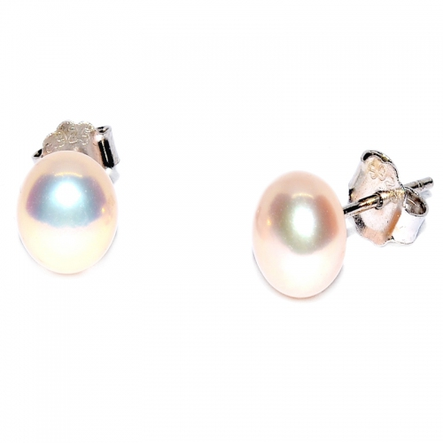 Fresh Water Pearl Button 6-7MM Stud 925 Silver Earring - Pink