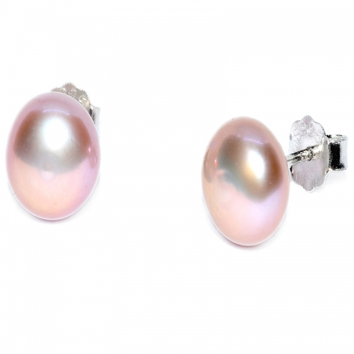 Fresh Water Pearl Button 8-9MM Stud 925 Silver Earring - Pink