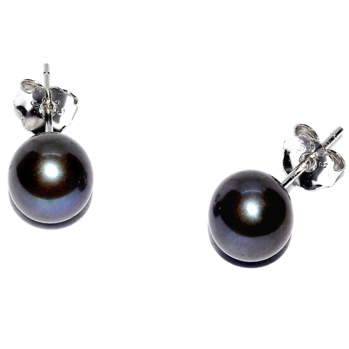 Fresh Water Pearl Round 7-7.5MM Stud 925 Silver Earring - Black