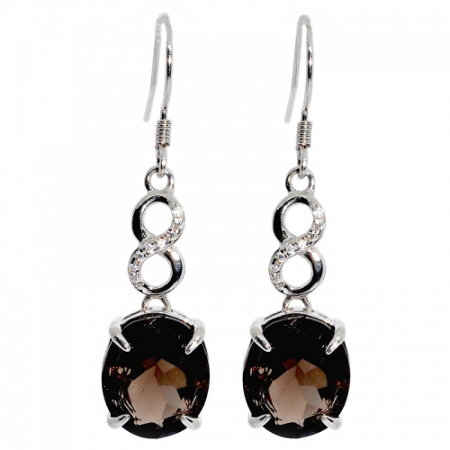 Smoky Quartz Oval Facet Infinity 925 Silver Earring