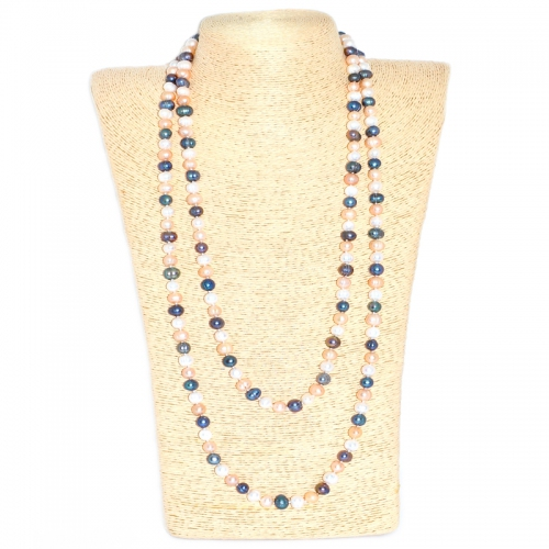 Fresh Water Pearl Round 8-9MM Long Necklace - Black,White & Pink