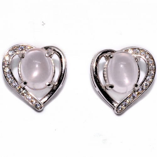 Rose Quartz Oval Cabochon Heart 925 Silver Earring