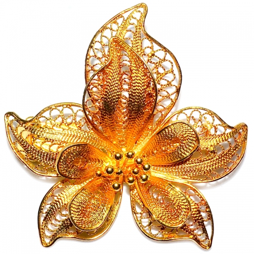 Midbud Flower 2 Layer 925 Silver Yellow Gold Plating Brooch