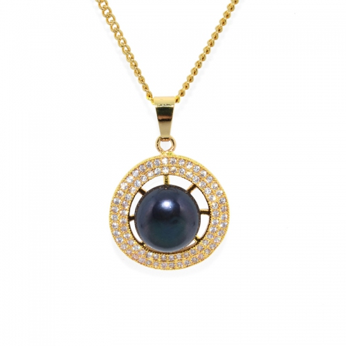 Fresh Water Pearl Cubic Zirconia Round Zinc Alloy Pendant With Chain-Matte Navy Blue