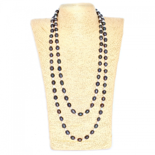 Fresh Water Pearl Rice Black 9.5MM & White 5.5MM Long Necklace
