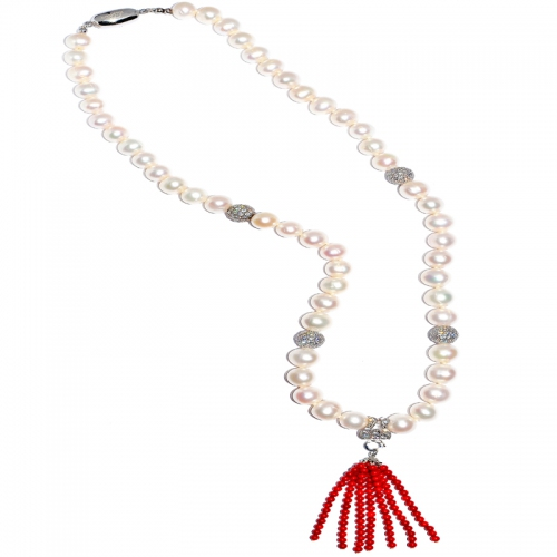Fresh Water Pearl With Red Coral Tassel Necklace