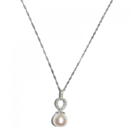 Fresh Water Pearl Leaf Cubic Zirconia 925 Silver Pendant With Chain