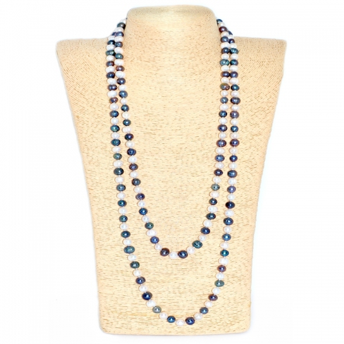 Fresh Water Pearl Round 8-9MM Long Necklace - Black & White