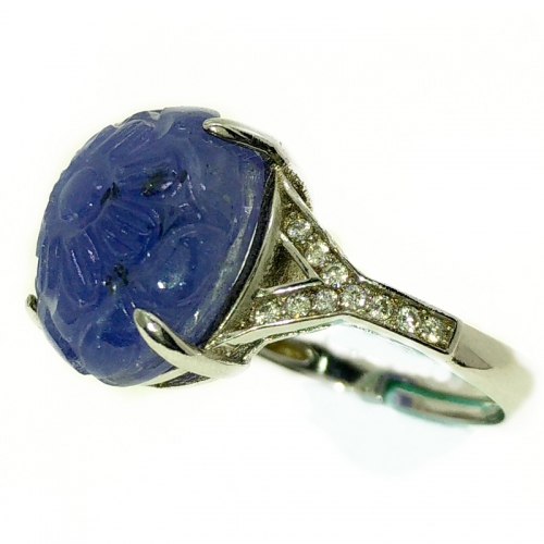 Tanzanite Carving Side Y 925 Ring