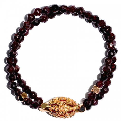 Garnet Double Layer Carving Barrel Bracelet