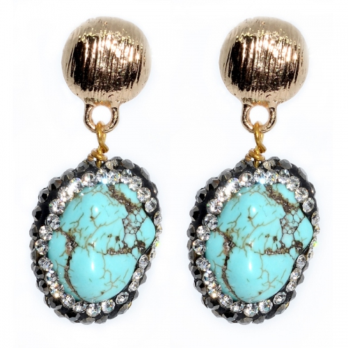 Stabilized Turquoise with Embedded Austrian Crystal Earring