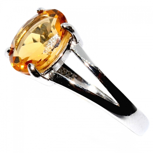 Citrine Oval Facets 925 Silver Ring