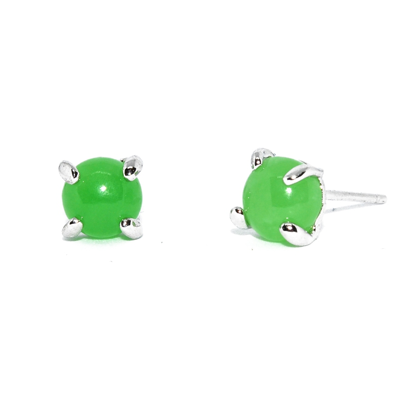 Jade Dome Small 925 Silver Earring