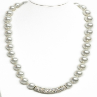 White Shell Pearl Crystal Bar Necklace