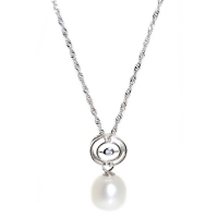 Fresh Water Pearl Round Simple 925 Silver Pendant With Chain