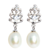 Fresh Water Pearl Pine Tree Cubic Zirconia Earring