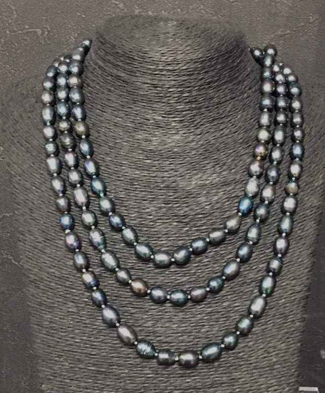 Fresh Water Pearl Black Long Necklace