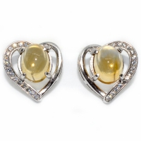 Citrine Oval Cabochon Heart 925 Silver Earring