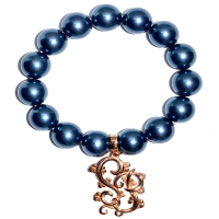 Shell Pearl With Shinju Pearl Emblem Charm Bracelet - Deep Blue