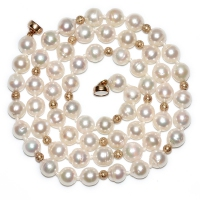 Japanese Akoya Baroque Pearl 6.5-7MM Gold Beads Necklace