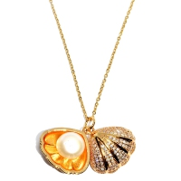 Fresh Water Pearl Cubic Zirconia Shell Pendant With Chain