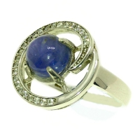 Tanzanite Round Cubic Zirconia 925 Silver Ring