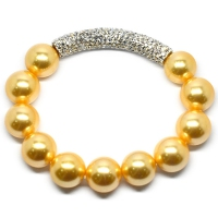 Yellow Gold Shell Pearl Crystal Bar Bracelet