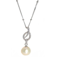 Fresh Water Pearl Drop Cubic Zirconia 925 Silver Pendant With Chain