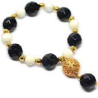 Turkish Charm Mix Stone Resin Bracelet - Black Agate