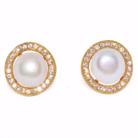 Fresh Water Pearl Cubic Zirconia Round Zinc Alloy Earring-White
