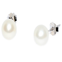 Fresh Water Pearl Round 7-7.5MM Stud 925 Silver Earring - White