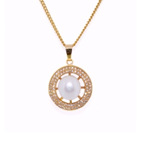 Fresh Water Pearl Cubic Zirconia Round Zinc Alloy Pendant With Chain-White