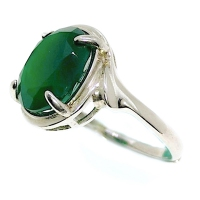 Green Onyx Simple 925 Silver Ring