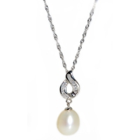 Fresh Water Pearl Tappered Curve 925 Silver Pendant With Chain