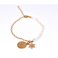 Pearl Coin & Ship Wheel Charm Bracelet 55