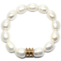 Fresh Water Pearl Barrel Charm Bracelet - Gold