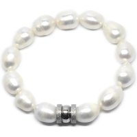Fresh Water Pearl Barrel Charm Bracelet - Silver