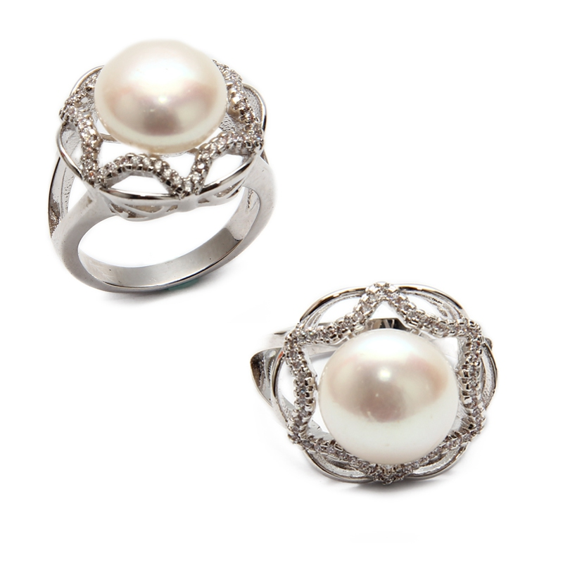 Fresh Water Pearl Star CZ Ring