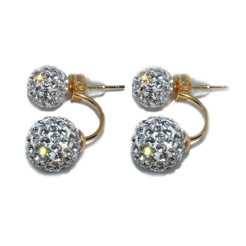 Russian Zirconia Double Droop 925 Silver Earring-Yellow Gold