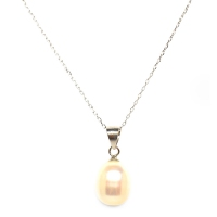 Fresh Water Pearl Drop 925 Silver Pendant With Chain