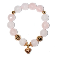 Rose Quartz Heart Charm Bracelet