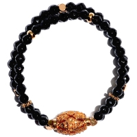 Black Agate Double Layer Carving Barrel Bracelet