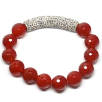 Red Agate Crystal Bar Bracelet