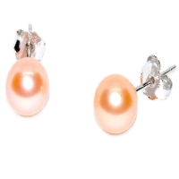Fresh Water Pearl Round 7-7.5MM Stud 925 Silver Earring - Peach