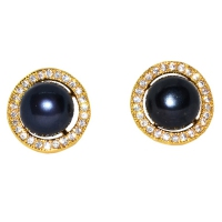 Fresh Water Pearl Cubic Zirconia Round Zinc Alloy Earring-Matte Navy Blue
