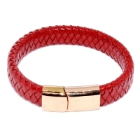 Stainless Steel Buckle Leather Bracelet - Red